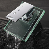glass sink - Glass Faucet Bathroom sink basin mixer tap chromed brass glass waterfall Faucet C3051