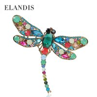Wholesale Romantic style multi colored crystal animal dragonfly brooch rhinestone alloy brooch for women summer new arrival BR02919