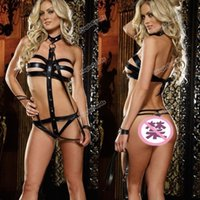 Wholesale High Quality Brand New Black Sexy Faux Leather Bundling Belt Gothic Teddy Cosplay Lingerie Uniform Hot