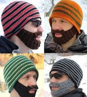 bicycle beard - Fashion Mustache hat Handmade Knitted Crochet Beard Hat Bicycle Mask Ski Cap roman knight octopus cool Funny beanies in stock