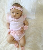 Wholesale Newborn Months Cute Pink cotton Baby Girl Romper climbing clothes Lace Rotator cuff Bow Romper Pink Headband Two Sets