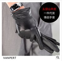 Wholesale Sheep skin leather gloves warm winter plus thick velvet thin fashion models male and female couple leather gloves