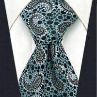 azure patterns - P5 Paisley Pattern Black Blue Azure Mens Neckties Ties Silk Extra Long Size Jacquard Woven Suit Gift