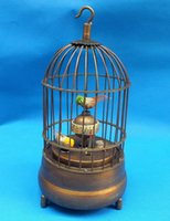 antique brass table - Rare brass bird cage Mechanical Table Clock Alarm Clock