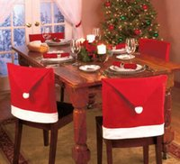 Wholesale Hot Gifts Christmas Santa Red Hat Chair Back Covers Chair Home Decorations Warmer Xmas Decor Christmas Party Props