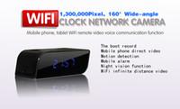 Wholesale Newest Wifi clock Camera P Hidden Spy Cam IP Clock Mini Camcorders HD Deg with Night Vision Black Support GB TF Card
