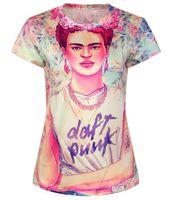 O-Neck daft punk - 2015 women d digital printed t shirt frida kahlo print DAFT PUNK t shirt smoking Harajuku tshirt women tops geek camiseta feminina