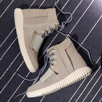 velcro - 2015 New Fashion Men Leather Yeezy Boosts Casual Shoes Kanye West Black Grey Dark Blue EUR Yeezy Boost Moonrock Moon Rock