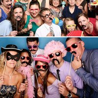 Wholesale Funny Wedding Photo Props on a Stick Mask Beard Mustache Hat Glasses Lips Birthday Party Decoration Supplies Set order lt no track