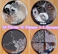 Cheap 10 Plates +1 Stamper + 1 Scraper 60 Designs Optional For Choosing Nail Art Image Konad Print Stamp Stamping Manicure Template
