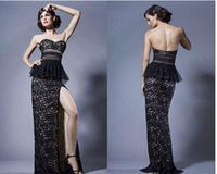 Cheap 2015 Exquisite Bodice Evening Dresses Sexy Sweetheart Sleeveless Peplum Split Side Floor-Length Prom Dresses Appliqued Lace Party Dresses WW