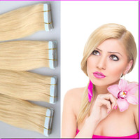 tape hair extensions - Superior Quality Platinum Blonde Seamless PU Skin Weft Human Hair Extensions g Brazilian Remy Straight PU Tape On Hair Color