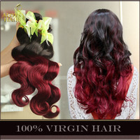 two tone hair extensions - Grade A Ombre Brazilian Body Wave Hair Weave Bundles Virgin Remy Human Hair Extensions Wefts Two Toned B J Burgundy Wine Red Tangle Free