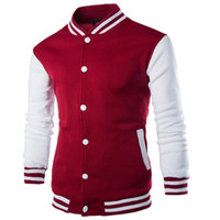 baseball jackets - Fashion Patchwork Polo Jakcets Red White Blue Casual Coat For Man Stand Collar College Baseball Jacket Men Veste Homme