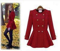 Cheap Free Shipping Fashion Women WINTER CASUAL WOMEN FAUX WOOL TRENCH COAT HOODED PARKA JACKET OVERCOAT OUTWEAR