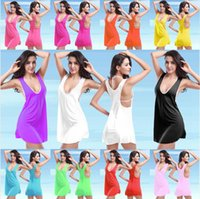 bathing suit dresses - 2016 Cover Ups Beach Dresses Swimwear For Women Colors U Neck Lace UP Bikini Wrap Dress Bathing Suit Sexy Womens Swimsuit