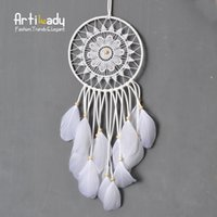 artilady - Artilady authentic native American dream catcher tapestry europe white leather dream catcher for room car decorate jewelry