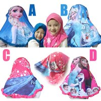 Wholesale 100pcs High quality Frozen Muslim kerchief colors Elsa Anna girl baby headscarf Cotton Bandanas headwear HX