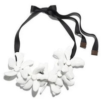 big rope chain necklace - 2016 HOT NEW Fashion Flower Necklace female ribbon jewelry Bohemia wind jewelry MARNI Big white necklace