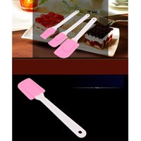 silicone spatula - Pink Piece DIY Cake Baking Tools Silicone Mixing Spatulas Scraper Set Cake Polisher tools DHL Free