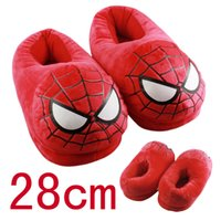 adult superhero shoes - 20pairs Superhero slippers Cartoon Adults Indoor Slipper Home Winter Warm Shoes Plush Stuffed Spiderman Ironman slippers