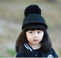 Cheap 5 Colors Girls Horseman Hats with Big Balls Christmas Gift Children Kids 2015 Winter Woolen Jazz Caps Warmth Baseball Bucket Hat K2866