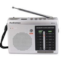 bands player - FM AM Band Radio Receiver REC Recorder USB SD Card MP3 Player Silver Y4151