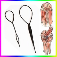 Wholesale 2pcs Plastic Magic Topsy Tail Hair Braid Ponytail Styling Maker Clip Tool Black M01163