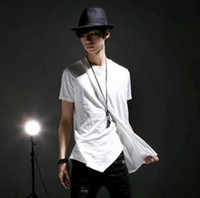Cheap The new Japanese and Korean version of cultivating rare unique cut short-sleeved T-shirt men performing service personalized fashion modelin