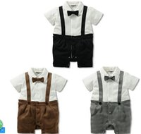 Cheap Hot sale 2015 baby boy Romper infant One-piece Jumpers gentleman cool suspender bow babies clothes kid clothing