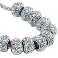 Wholesale Wholesales White AB Crystal Rondelle Metal European Big Hole Beads For Making Jewelry Charms Bracelets mm