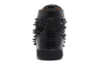 Wholesale New louboutins Men Black Patent Leather Mixed Spikes High Top Sneakers Shoes Men Flat Street Causal Shoes