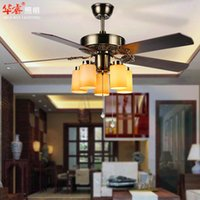 Wholesale Modern Contracted Fan Lights With Light Bronze Chandeliers E27 LED Carving Lights Brief Ikea Dining Room Restaurant Living Room v
