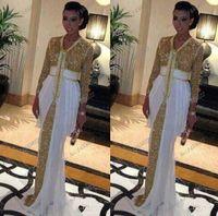 abaya - 2014 High Quality Gold Sequin Muslim Evening Dresses Islamic Dresses Moroccan Islamic Clothing Abaya In Dubai Long Sleeve Prom Dresses