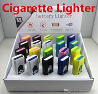 achat en gros de electronic cigarette-Cigarette Lighters USB Batterie Rechargeable Cigarettes électroniques Briquet Windproof Flameless No Fuel Gas ABS Flame Retardant Plastic