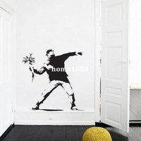 banksy sticker - Banksy Flower Thrower Wall Sticker mural wallpaper wall art CM