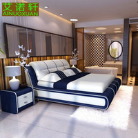 Wholesale 100 leather bed m double bed m bed bedroom furniture Leather tatami beds special offer