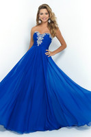 Wholesale 2015 royal blue prom dresses sweetheart beaded crystal half backless blush Vestidos de Fiesta chiffon mermaid pageant evening gowns