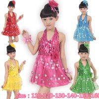 little girls clothing - DHL free Children Girl Sequins Princess Dress Christmas Halter Little Kids Cute Organza Princess Backless Party dress Children clothes
