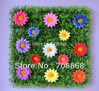 artificial grass mat - 50 pieces artificial grass mat boxwood mat with silk daisy flowers of different colors