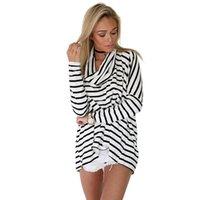 Hot vendita 2015 modo delle donne maglietta autunno del nuovo manica lunga europea collo a strisce tartaruga maglietta allentata 6345 FG1511