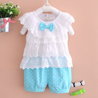 character appliques - Summer Girls bowknot suit new sleeveless Lace layers T shirt flower Shorts suit baby clothes color B001