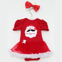 baby bow babysuit - Christmas Body Bodysuit For Babies Lace Skirts One Piece Costume Newborn man Coveralls Bow Headbands Baby babysuit for girls