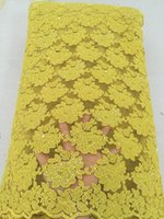 Wholesale Pretty yellow color African cord lace fabric new arrival guipure lace fabric for party dress Sa_0816y