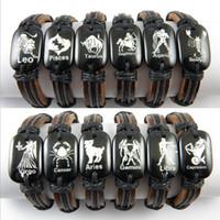 amulet bracelets - Hot Sale Hand woven Unisex Zodiac Amulet Constellations Leather Bracelets Bangle Lucky GIFT MB05
