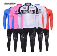 Wholesale Lagazzetta dello Sport cycling jerseys long sleeve Autum Wither Thermal Fleece none Fleece Road bicycle suit outdoor bike wear good quality