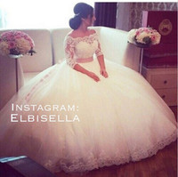 Wholesale Vintage Wedding Dresses Ball Gown Sheer Lace Long Transparent Sleeve Puffy Skirt Tulle Floor Length Bridal Dresses