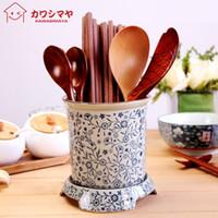 Wholesale Kawashima house painted blue and white ceramic chopstick chopsticks cage antique office pen creative kitchen supplies