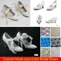 Wholesale Comfortable Lace Bridal Shoes Wedges For Weddings Women Low Heels Bow Knot Cheap Bohemian Custom Made Purple Blue Bridesmaids Dress Shoes