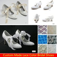 Round Toe low heel dress shoe - White Ivory Lace Bridal Shoes Wedges For Weddings Women Low Heels Bow Knot Cheap Bohemian Custom Made Purple Blue Bridesmaids Dress Shoes